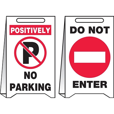 Accuform Signs® Slip-Gard™ POSITIVELY NO PARKING/DO NOT..Reversible Fold-Ups, Red/BLK/White, 20x12