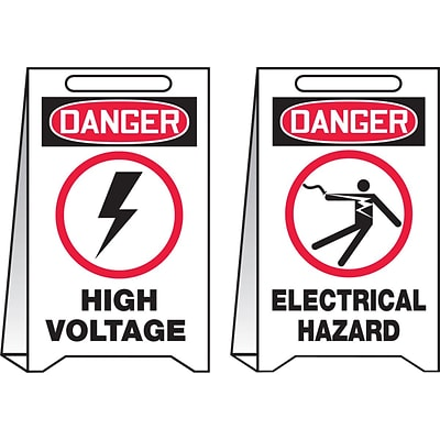 Accuform Signs® Slip-Gard™ DANGER HIGH VOLTAGE/DANGER..Reversible Fold-Ups, Red/Black/White, 20x12