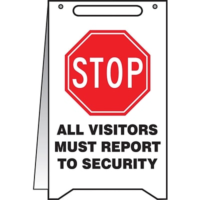 Accuform Signs® Slip-Gard™ STOP ALL VISITORS MUST REPORT TO SECURITY Fold-Ups, BLK/Red/WHT, 20x12