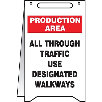 Accuform Signs® Slip-Gard™ PRODUCTION AREA ALL THROUGH.. Fold-Ups, Black/Red/White, 20H x 12W