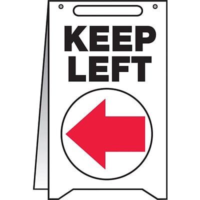 Accuform Signs® Slip-Gard™ KEEP LEFT Fold-Ups, Red/Black/White, 20H x 12W, 1/Pack