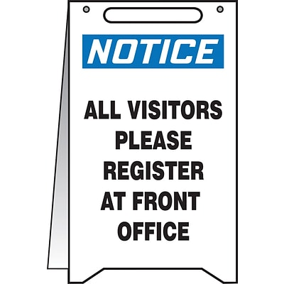 Accuform Signs® Slip-Gard™ NOTICE ALL VISITORS PLEASE REGISTER.. Fold-Ups, Blue/Black/White, 20x12