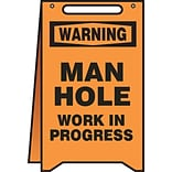 Accuform Signs® Slip-Gard™ WARNING MAN HOLE WORK IN PROGRESS Fold-Ups, Black/Orange, 20H x 12W