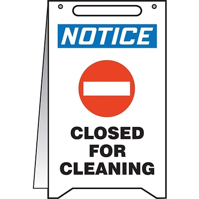 Accuform Signs® Slip-Gard™ NOTICE CLOSED FOR CLEANING Fold-Ups, Blue/Black/White, 20H x 12W, 1/Pk