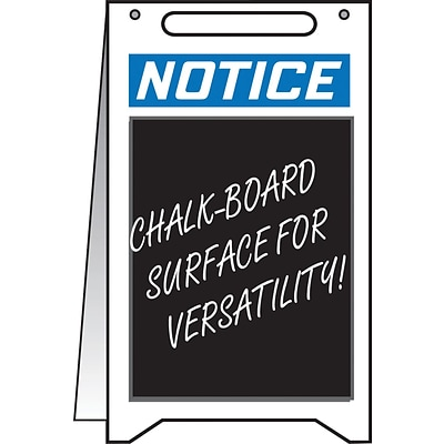 Accuform Signs® Slip-Gard™ NOTICE with CHALKBOARD AREA Fold-Ups, Blue/Black/White, 20H x 12W, 1/Pk