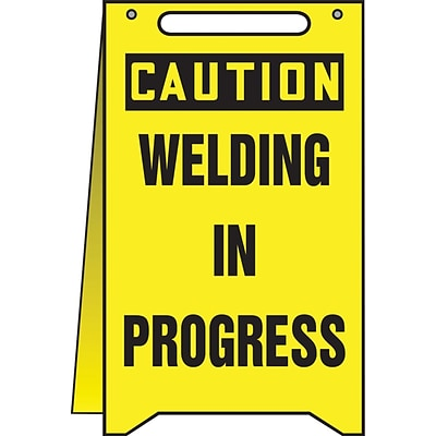 Accuform Signs® Slip-Gard™ CAUTION WELDING IN PROGRESS Fold-Ups, Black/Yellow, 20H x 12W, 1/Pack