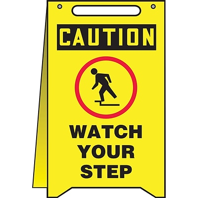 Accuform Signs® Slip-Gard™ CAUTION WATCH YOUR STEP Fold-Ups, Black/Red/Yellow, 20H x 12W, 1/Pack