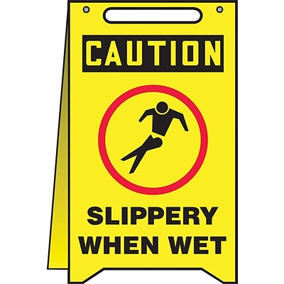 Accuform Signs® Slip-Gard™ CAUTION SLIPPERY WHEN WET Fold-Ups, Black/Red/Yellow, 20H x 12W, 1/Pack