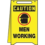 Accuform Signs® Slip-Gard™ CAUTION MEN WORKING Fold-Ups, Black/Yellow, 20H x 12W, 1/Pack