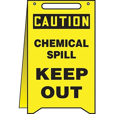 Accuform Signs® Slip-Gard™ CAUTION CHEMICAL SPILL KEEP OUT Fold-Ups, Black/Yellow, 20H x 12W, 1/Pk
