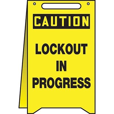 Accuform Signs® Slip-Gard™ CAUTION LOCKOUT IN PROGRESS Fold-Ups, Black/Yellow, 20H x 12W, 1/Pack