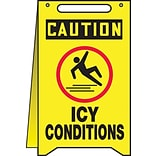 Accuform Signs® Slip-Gard™ CAUTION ICY CONDITIONS Fold-Ups, Black/Yellow, 20H x 12W, 1/Pack