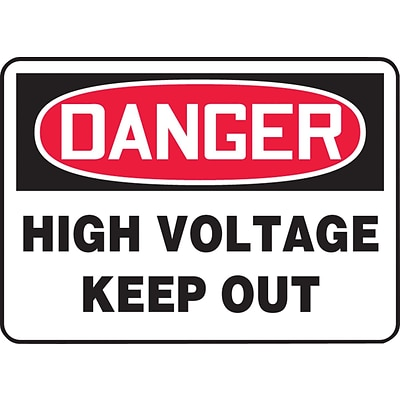 ACCUFORM SIGNS® Safety Sign, DANGER HIGH VOLTAGE KEEP OUT, 10 x 14, Aluminum, Each