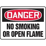 ACCUFORM SIGNS® Safety Sign, DANGER NO SMOKING OR OPEN FLAME, 7 x 10, Plastic, Each