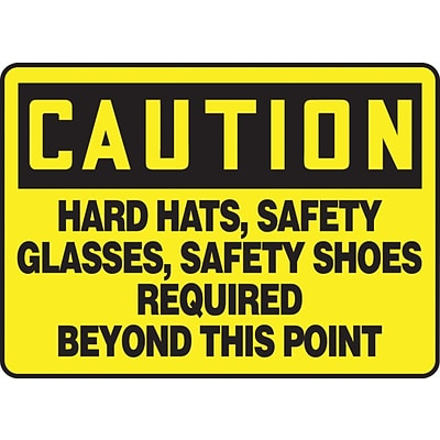ACCUFORM SIGNS® Safety Sign, HARD HATS, SAFETY GLASSES, SAFETY SHOES REQUIRED, 7x10, Plastic