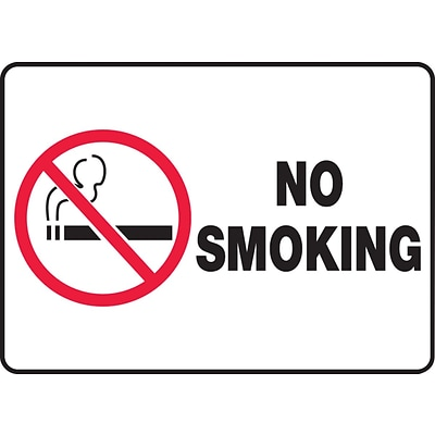 ACCUFORM SIGNS® Safety Sign, NO SMOKING, 7 x 10, Plastic, Each