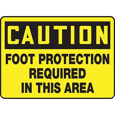ACCUFORM SIGNS® Safety Sign, CAUTION FOOT PROTECTION REQUIRED IN THIS AREA, 7 x 10, Plastic, Each