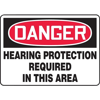 ACCUFORM SIGNS® Safety Sign, DANGER HEARING PROTECTION REQUIRED IN THIS AREA, 10 x 14, Aluminum