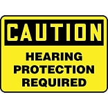 ACCUFORM SIGNS® Safety Sign, CAUTION HEARING PROTECTION REQUIRED, 7 x 10, Plastic, Each