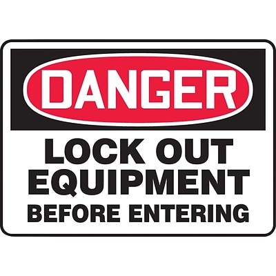 ACCUFORM SIGNS® Safety Sign, DANGER LOCK OUT EQUIPMENT BEFORE ENTERING, 7 x 10, Aluminum, Each