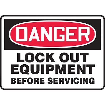 ACCUFORM SIGNS® Safety Sign, DANGER LOCK OUT EQUIPMENT BEFORE SERVICING, 10 x 14, Plastic, Each