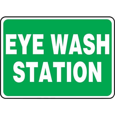 ACCUFORM SIGNS® Safety Sign, EYE WASH STATION, 10 x 14, Plastic, Each