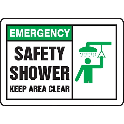 ACCUFORM SIGNS® Safety Sign, EMERGENCY SAFETY SHOWER KEEP AREA CLEAR, 10 x 14, Plastic, Each