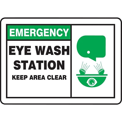 ACCUFORM SIGNS® Safety Sign, EMERGENCY EYE WASH STATION KEEP AREA CLEAR, 10 x 14, Plastic, Each
