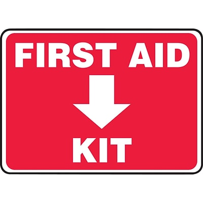 ACCUFORM SIGNS® Safety Sign, FIRST AID KIT, 10 x 14, Plastic, Each