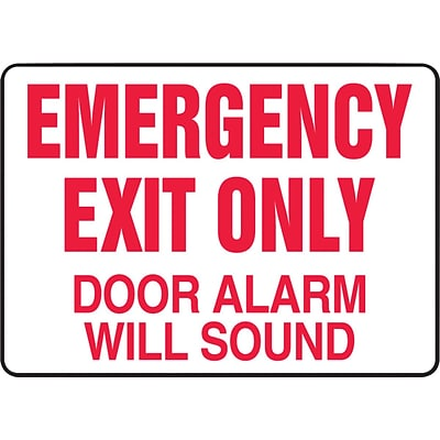 ACCUFORM SIGNS® Safety Sign, EMERGENCY EXIT ONLY DOOR ALARM WILL SOUND, 10 x 14, Aluminum, Each