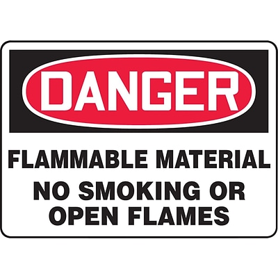 ACCUFORM SIGNS® Safety Sign, DANGER FLAMMABLE MATERIAL NO SMOKING OR OPEN FLAMES, 7 x 10, Aluminum