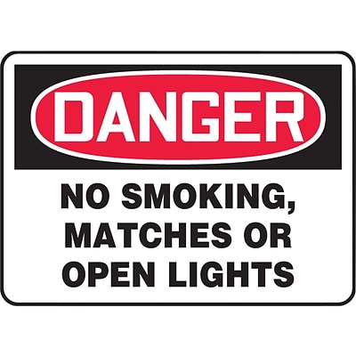 ACCUFORM SIGNS® Safety Sign, DANGER NO SMOKING, MATCHES OR OPEN LIGHTS, 7 x 10, Plastic, Each