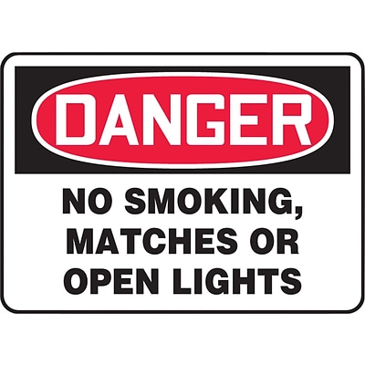 ACCUFORM SIGNS® Safety Sign, DANGER NO SMOKING, MATCHES OR OPEN LIGHTS, 7 x 10, Aluminum, Each
