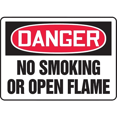 ACCUFORM SIGNS® Safety Sign, DANGER NO SMOKING OR OPEN FLAME, 10 x 14, Plastic, Each