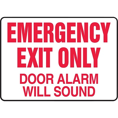 ACCUFORM SIGNS® Safety Sign, EMERGENCY EXIT ONLY DOOR ALARM WILL SOUND, 7 x 10, Aluminum, Each