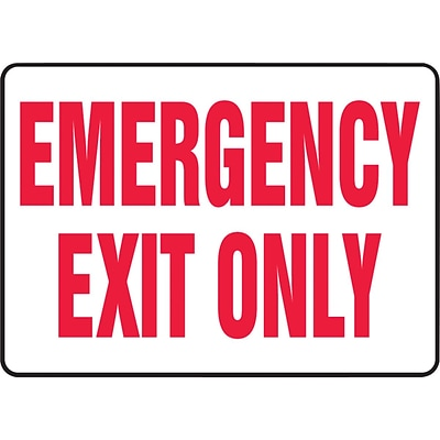 ACCUFORM SIGNS® Safety Sign, EMERGENCY EXIT ONLY, 10 x 14, Plastic, Each