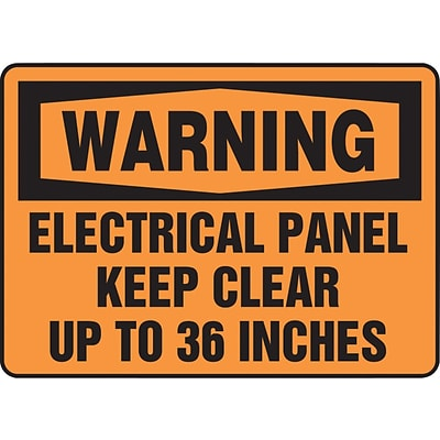 ACCUFORM SIGNS® Safety Sign, WARNING ELECTRICAL PANEL KEEP CLEAR UP TO 36 INCHES, 7 x 10, Plastic