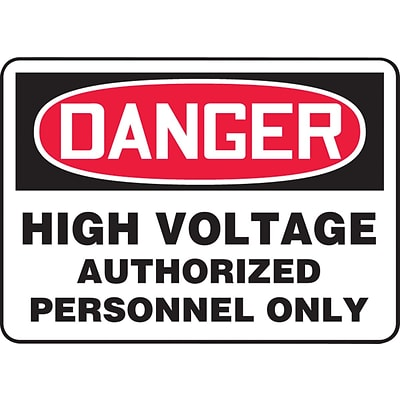 ACCUFORM SIGNS® Safety Sign, DANGER HIGH VOLTAGE AUTHORIZED PERSONNEL ONLY, 7 x 10, Aluminum, Each