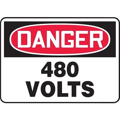 ACCUFORM SIGNS® Safety Sign, DANGER 480 VOLTS, 10 x 14, Aluminum, Each