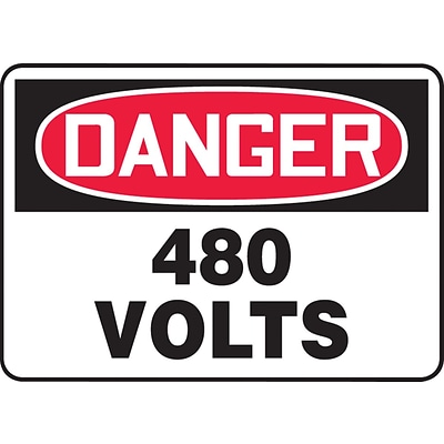 ACCUFORM SIGNS® Safety Sign, DANGER 480 VOLTS, 7 x 10, Plastic, Each