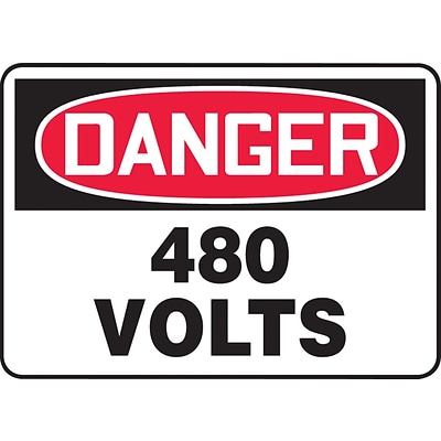 ACCUFORM SIGNS® Safety Sign, DANGER 480 VOLTS, 7 x 10, Aluminum, Each