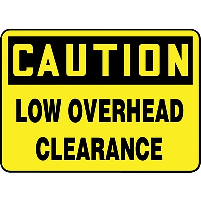 ACCUFORM SIGNS® Safety Sign, CAUTION LOW OVERHEAD CLEARANCE, 10 x 14, Aluminum, Each