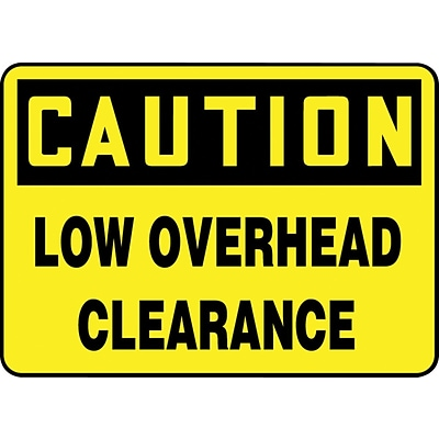 ACCUFORM SIGNS® Safety Sign, CAUTION LOW OVERHEAD CLEARANCE, 7 x 10, Aluminum, Each