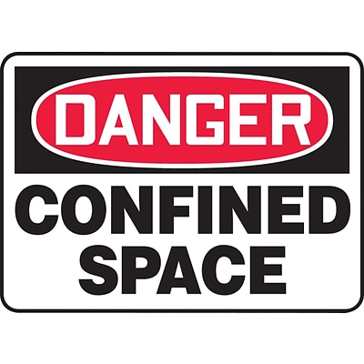 ACCUFORM SIGNS® Safety Sign, DANGER CONFINED SPACE, 10 x 14, Plastic, Each