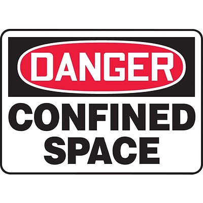 ACCUFORM SIGNS® Safety Sign, DANGER CONFINED SPACE, 7 x 10, Aluminum, Each