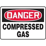 ACCUFORM SIGNS® Safety Sign, DANGER COMPRESSED GAS, 10 x 14, Aluminum, Each