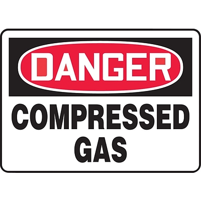 ACCUFORM SIGNS® Safety Sign, DANGER COMPRESSED GAS, 7 x 10, Plastic, Each