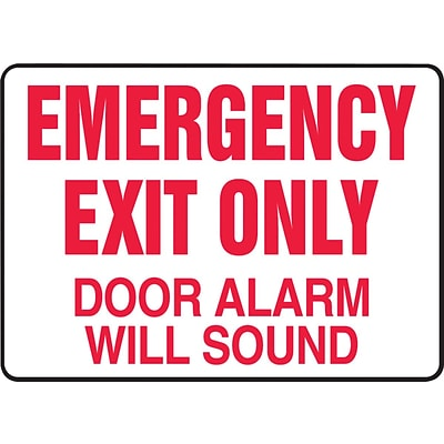Accuform Signs® Safety Sign, Emergency Exit Only, 10 X 14, Adhesive Vinyl, Ea (MEXT932VS)
