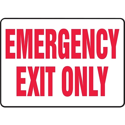 Accuform Signs® Safety Sign, Emergency Exit Only, 10 X 14, Adhesive Vinyl, Ea (MEXT918VS)