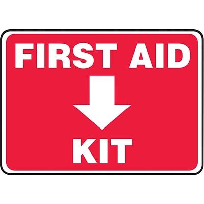 Accuform Signs® Safety Sign, First Aid Kit, 10 X 14, Adhesive Vinyl, Ea